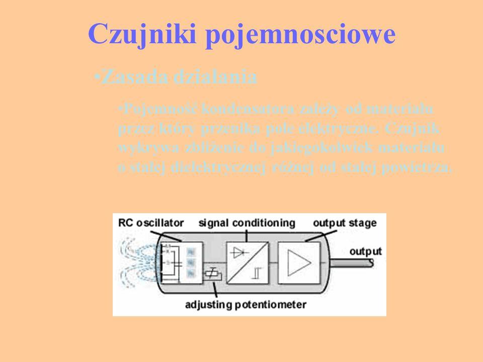Zasada działania Pojemność kondensatora zależy od materiału przez który przenika pole elektryczne. Czujnik wykrywa zbliżenie do jakiegokolwiek materia