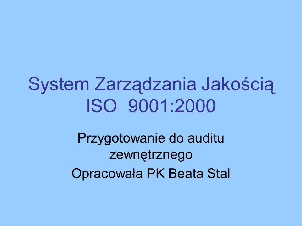 System Zarządzania Jakością ISO 9001:2000 Przygotowanie do auditu zewnętrznego Opracowała PK Beata Stal