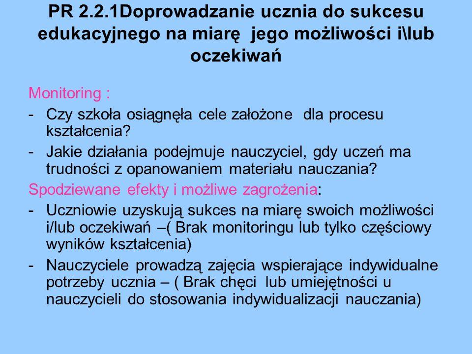 PR 2.2.1Doprowadzanie ucznia do sukcesu edukacyjnego na miarę jego możliwości i\lub oczekiwań Monitoring : -Czy szkoła osiągnęła cele założone dla pro