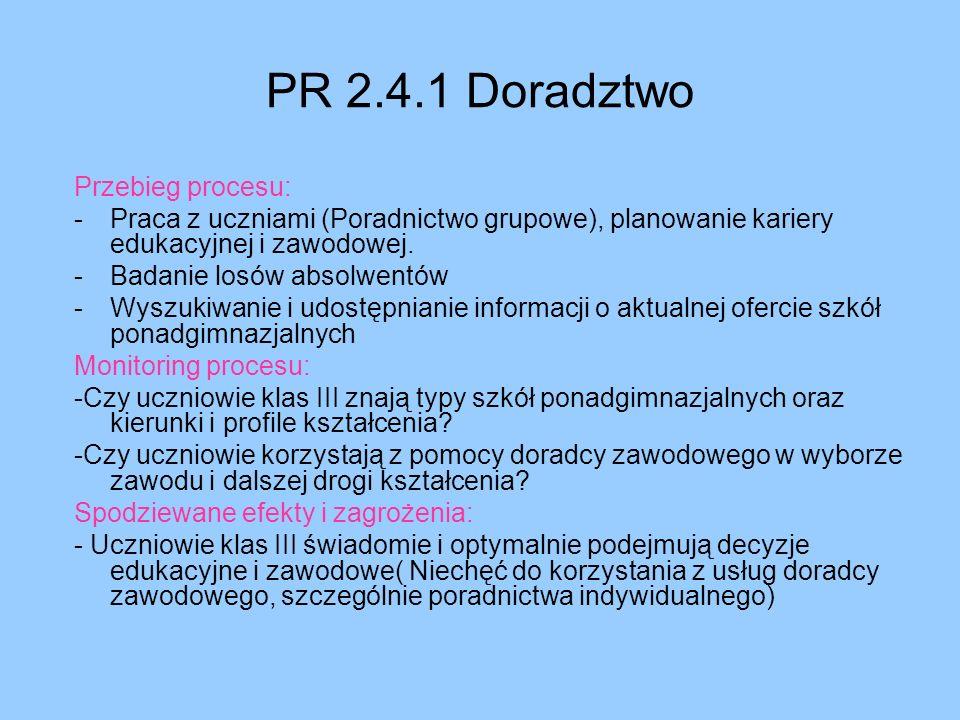 PR 2.4.1 Doradztwo Przebieg procesu: -Praca z uczniami (Poradnictwo grupowe), planowanie kariery edukacyjnej i zawodowej. -Badanie losów absolwentów -