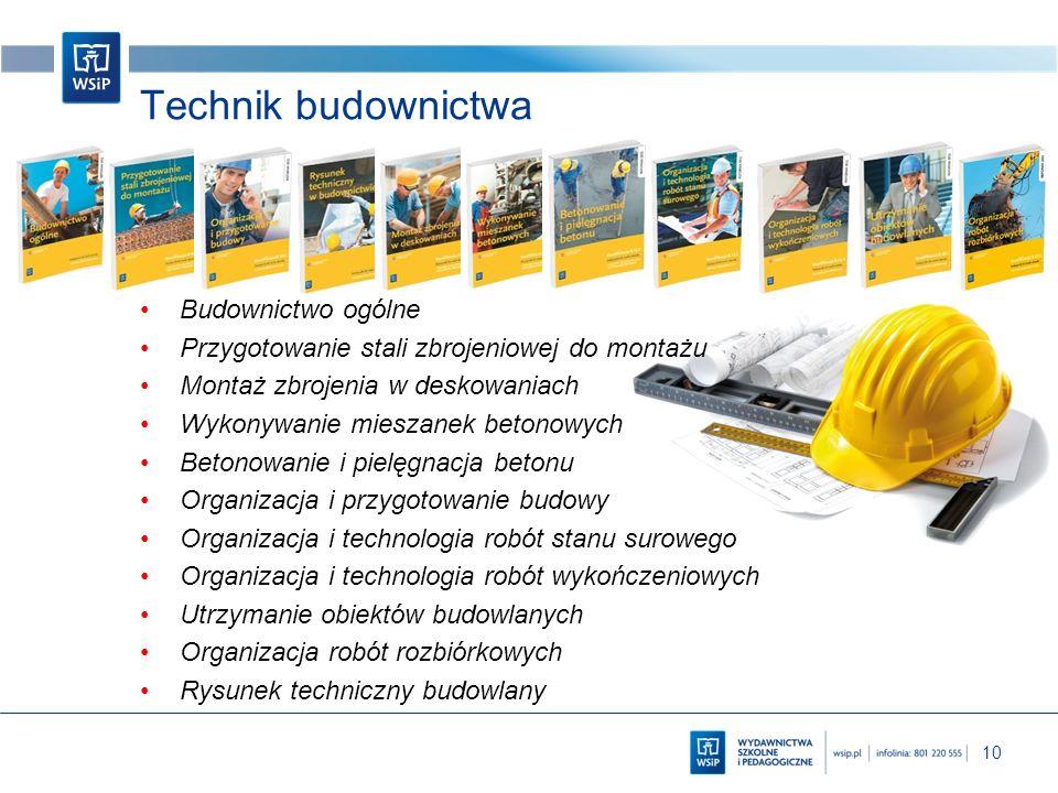 10 Technik budownictwa Budownictwo ogólne Przygotowanie stali zbrojeniowej do montażu Montaż zbrojenia w deskowaniach Wykonywanie mieszanek betonowych