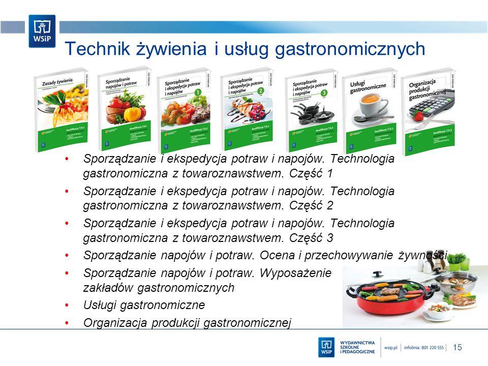 15 Technik żywienia i usług gastronomicznych Sporządzanie i ekspedycja potraw i napojów. Technologia gastronomiczna z towaroznawstwem. Część 1 Sporząd
