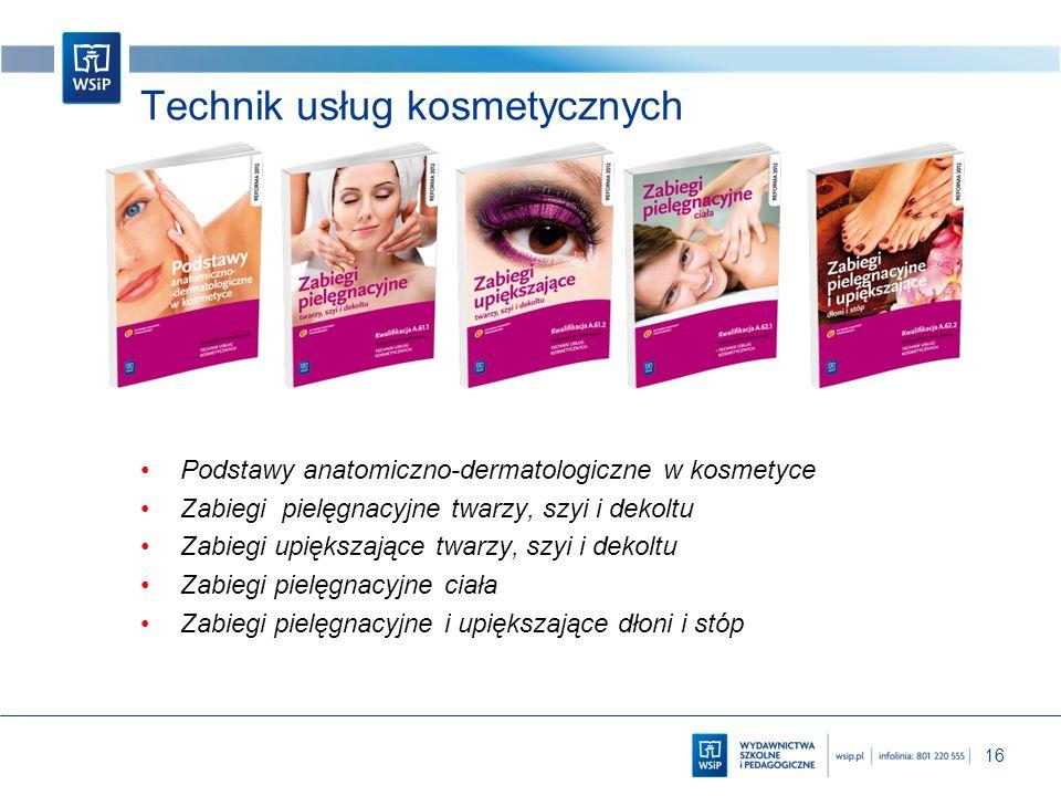 16 Technik usług kosmetycznych Podstawy anatomiczno-dermatologiczne w kosmetyce Zabiegi pielęgnacyjne twarzy, szyi i dekoltu Zabiegi upiększające twar