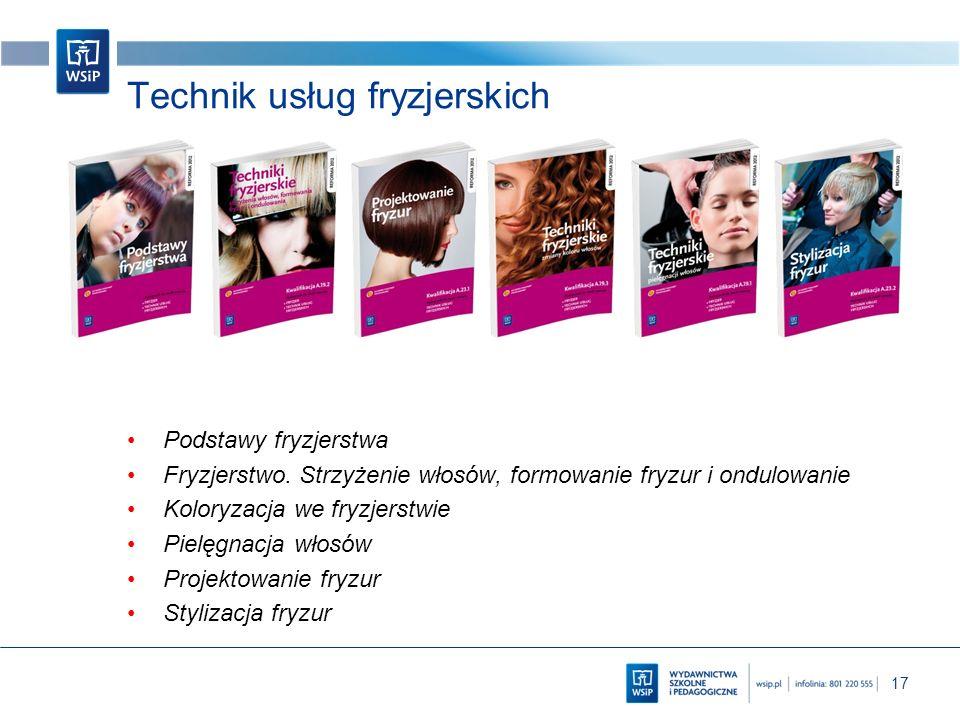 17 Technik usług fryzjerskich Podstawy fryzjerstwa Fryzjerstwo. Strzyżenie włosów, formowanie fryzur i ondulowanie Koloryzacja we fryzjerstwie Pielęgn