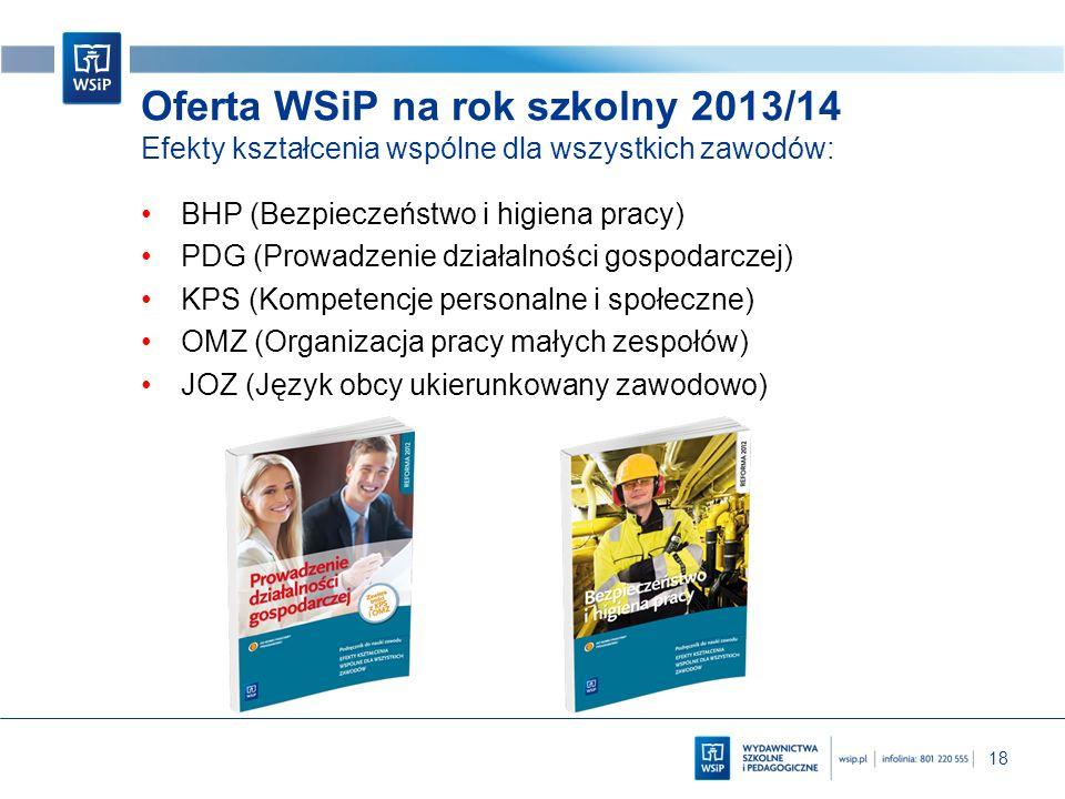 18 Oferta WSiP na rok szkolny 2013/14 Efekty kształcenia wspólne dla wszystkich zawodów: BHP (Bezpieczeństwo i higiena pracy) PDG (Prowadzenie działal