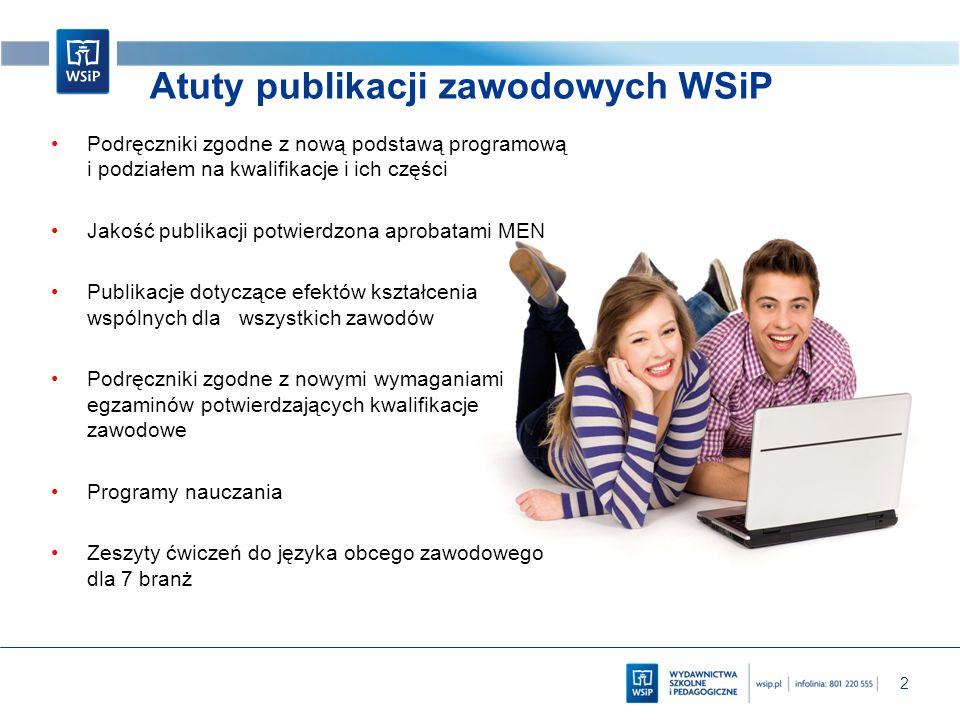 2 Atuty publikacji zawodowych WSiP Podręczniki zgodne z nową podstawą programową i podziałem na kwalifikacje i ich części Jakość publikacji potwierdzo