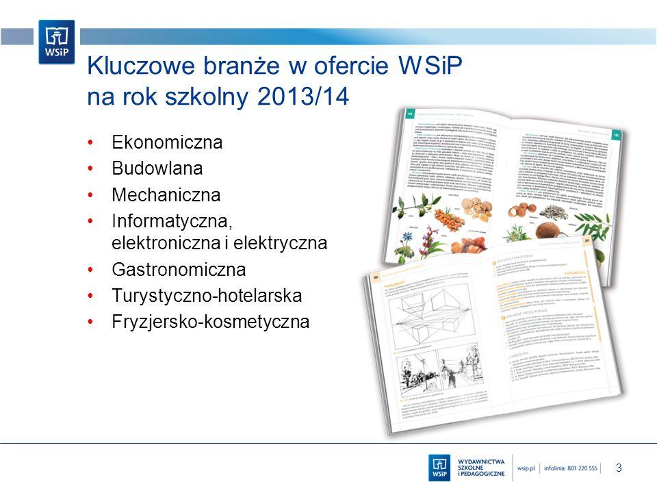 3 Kluczowe branże w ofercie WSiP na rok szkolny 2013/14 Ekonomiczna Budowlana Mechaniczna Informatyczna, elektroniczna i elektryczna Gastronomiczna Tu