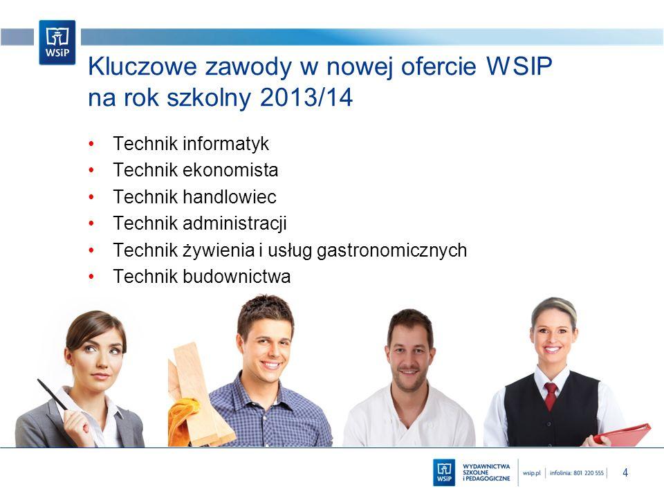 4 Kluczowe zawody w nowej ofercie WSIP na rok szkolny 2013/14 Technik informatyk Technik ekonomista Technik handlowiec Technik administracji Technik ż