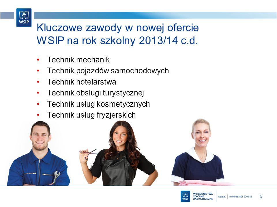 5 Kluczowe zawody w nowej ofercie WSIP na rok szkolny 2013/14 c.d. Technik mechanik Technik pojazdów samochodowych Technik hotelarstwa Technik obsługi