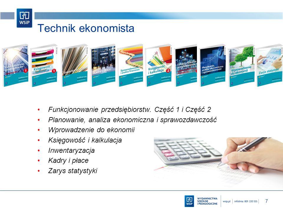 7 Technik ekonomista Funkcjonowanie przedsiębiorstw. Część 1 i Część 2 Planowanie, analiza ekonomiczna i sprawozdawczość Wprowadzenie do ekonomii Księ