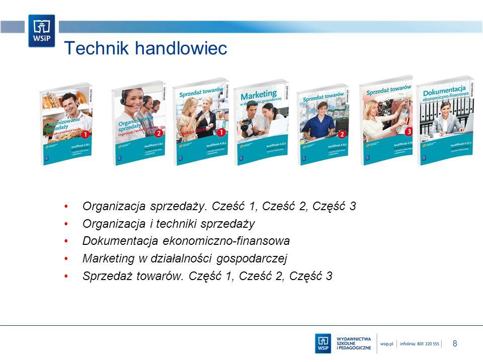 8 Technik handlowiec Organizacja sprzedaży. Cześć 1, Cześć 2, Część 3 Organizacja i techniki sprzedaży Dokumentacja ekonomiczno-finansowa Marketing w