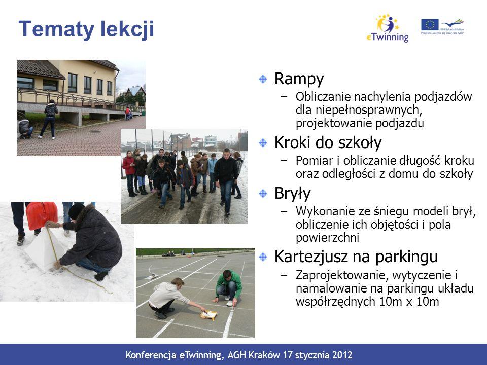 Tematy lekcji Rampy –Obliczanie nachylenia podjazdów dla niepełnosprawnych, projektowanie podjazdu Kroki do szkoły –Pomiar i obliczanie długość kroku