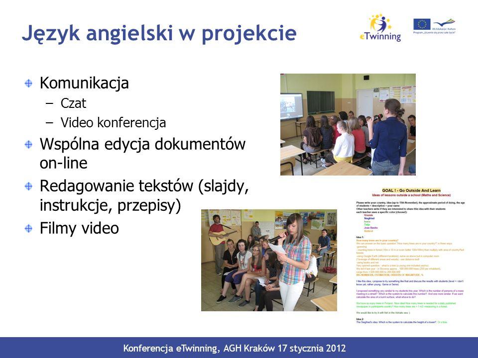 Język angielski w projekcie Komunikacja –Czat –Video konferencja Wspólna edycja dokumentów on-line Redagowanie tekstów (slajdy, instrukcje, przepisy)