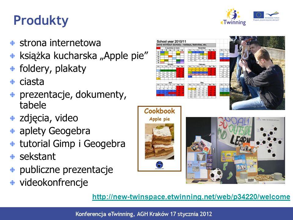 Produkty strona internetowa książka kucharska Apple pie foldery, plakaty ciasta prezentacje, dokumenty, tabele zdjęcia, video aplety Geogebra tutorial