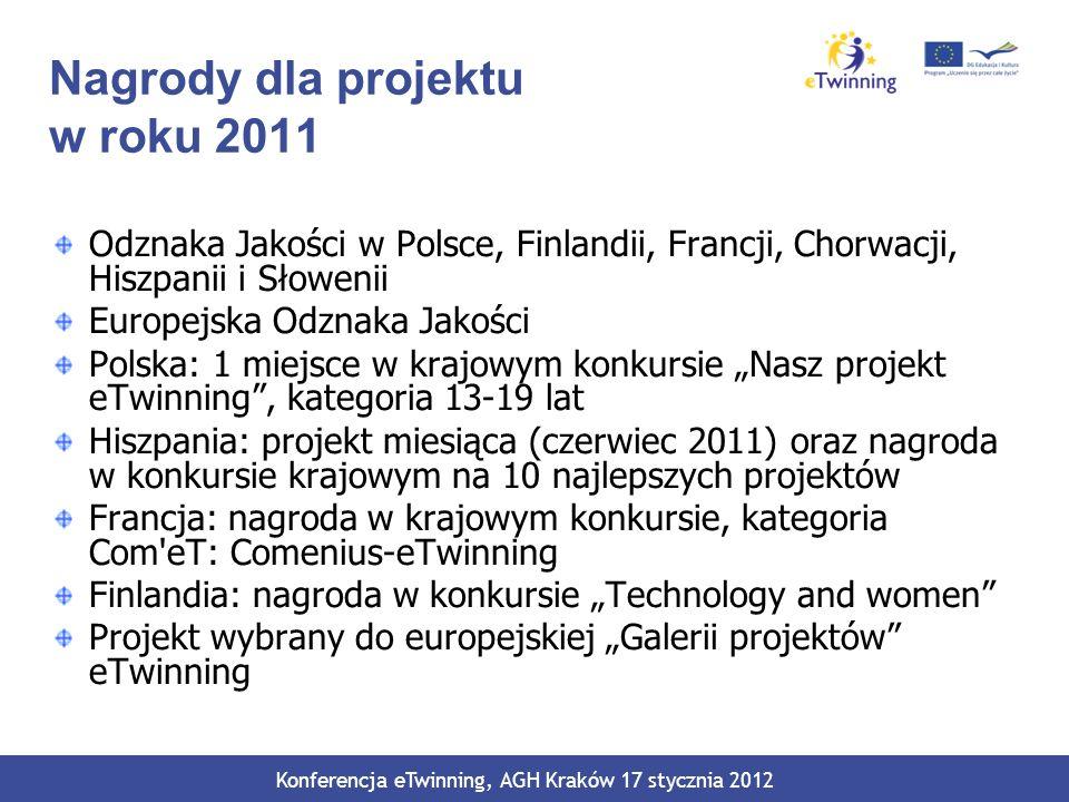 Nagrody dla projektu w roku 2011 Odznaka Jakości w Polsce, Finlandii, Francji, Chorwacji, Hiszpanii i Słowenii Europejska Odznaka Jakości Polska: 1 mi