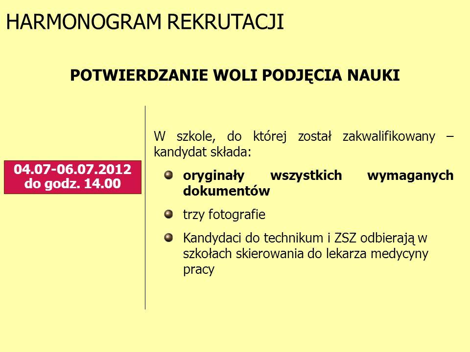 HARMONOGRAM REKRUTACJI 04.07-06.07.2012 do godz. 14.00 POTWIERDZANIE WOLI PODJĘCIA NAUKI W szkole, do której został zakwalifikowany – kandydat składa: