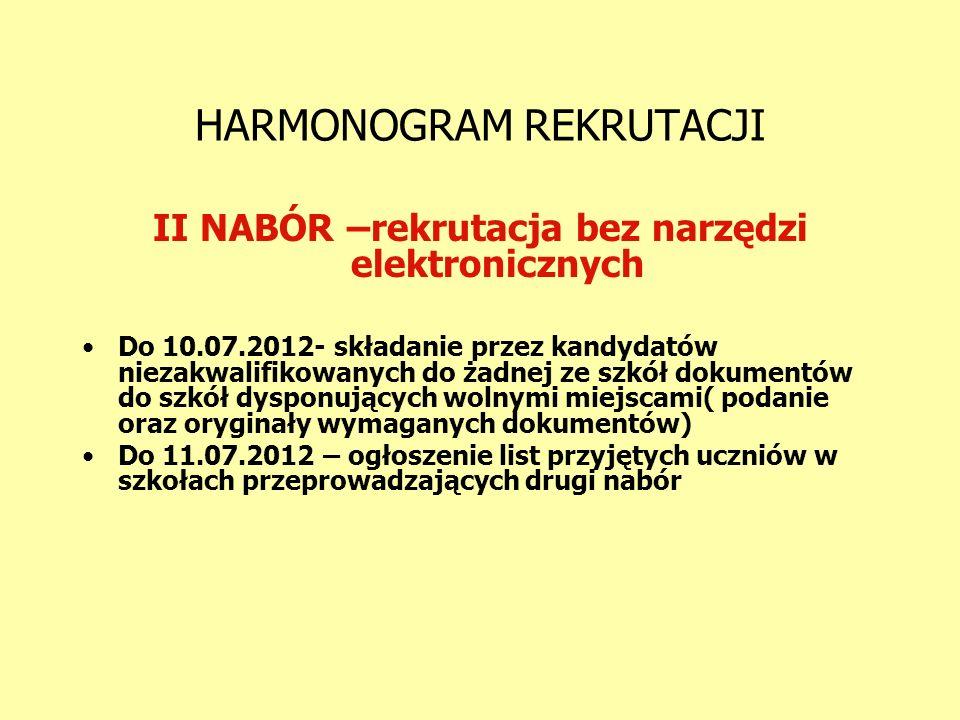 HARMONOGRAM REKRUTACJI II NABÓR –rekrutacja bez narzędzi elektronicznych Do 10.07.2012- składanie przez kandydatów niezakwalifikowanych do żadnej ze s