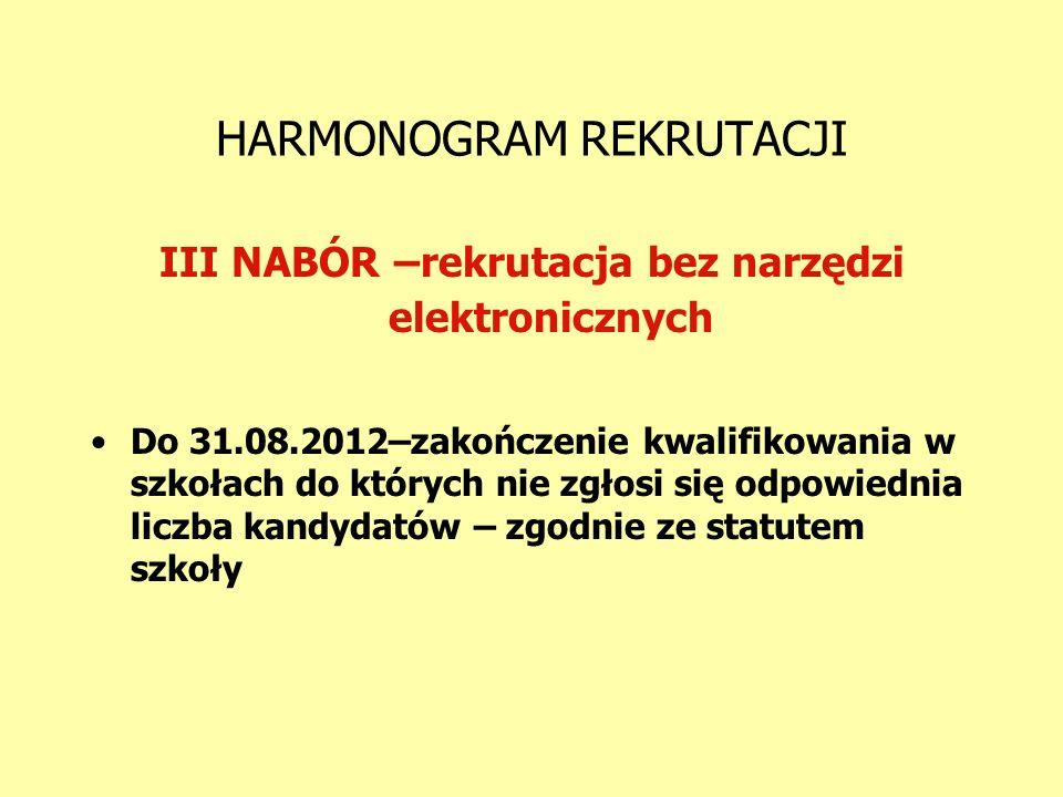 HARMONOGRAM REKRUTACJI III NABÓR –rekrutacja bez narzędzi elektronicznych Do 31.08.2012–zakończenie kwalifikowania w szkołach do których nie zgłosi si