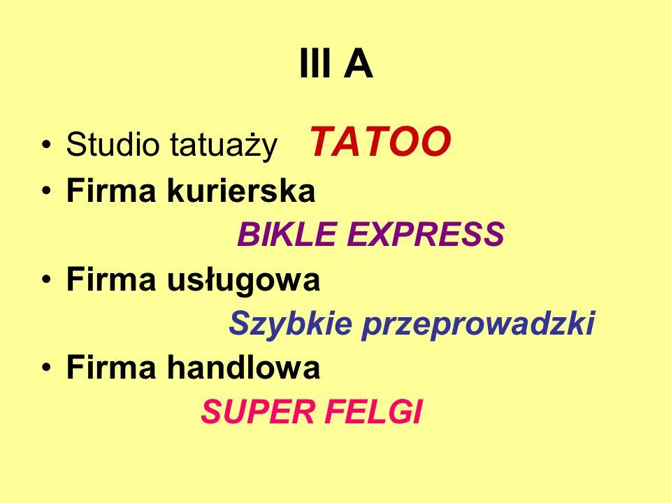 III A Studio tatuaży TATOO Firma kurierska BIKLE EXPRESS Firma usługowa Szybkie przeprowadzki Firma handlowa SUPER FELGI