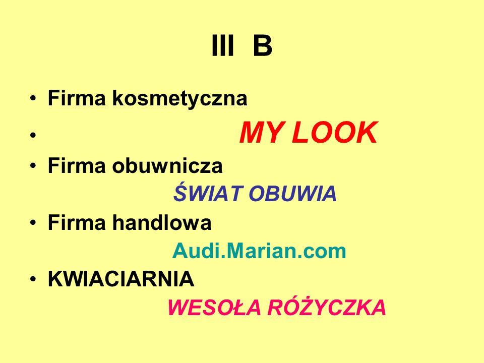 III B Firma kosmetyczna MY LOOK Firma obuwnicza ŚWIAT OBUWIA Firma handlowa Audi.Marian.com KWIACIARNIA WESOŁA RÓŻYCZKA