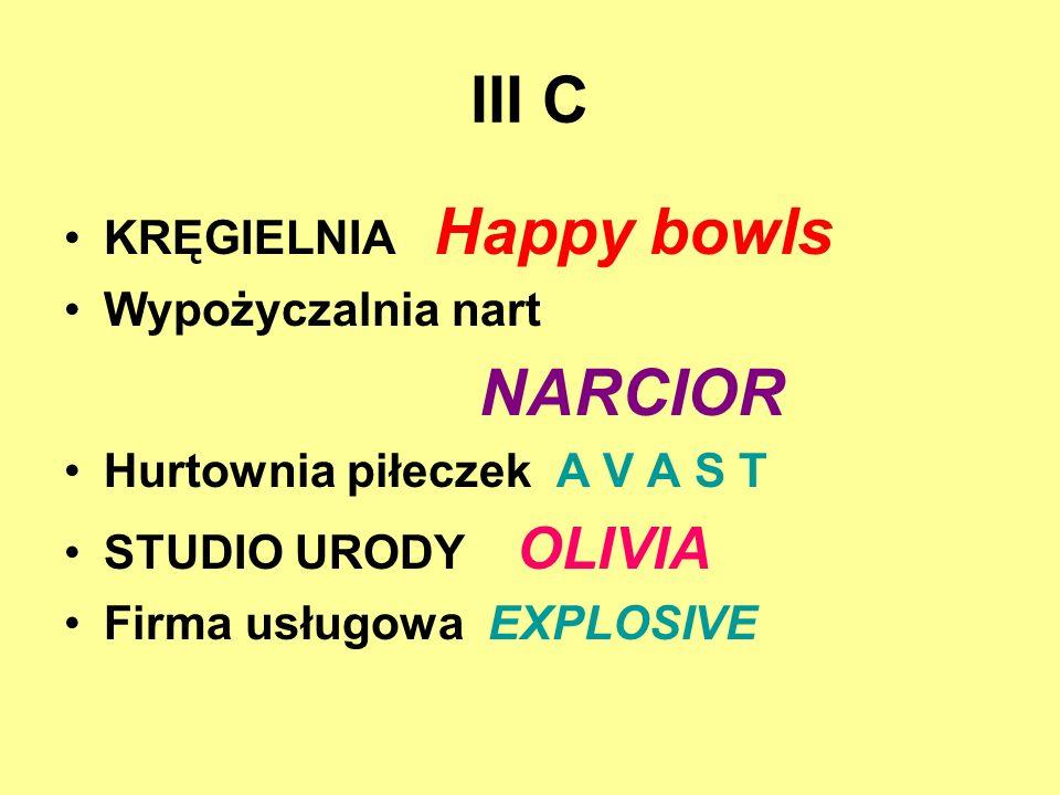 III C KRĘGIELNIA Happy bowls Wypożyczalnia nart NARCIOR Hurtownia piłeczek A V A S T STUDIO URODY OLIVIA Firma usługowa EXPLOSIVE