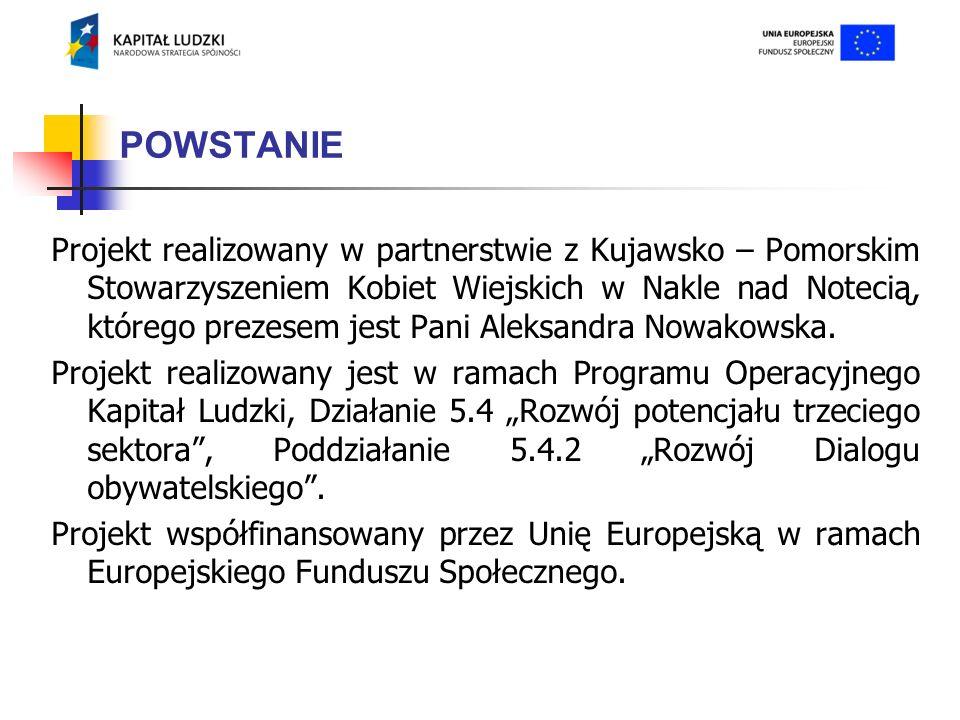 POWSTANIE Projekt realizowany w partnerstwie z Kujawsko – Pomorskim Stowarzyszeniem Kobiet Wiejskich w Nakle nad Notecią, którego prezesem jest Pani Aleksandra Nowakowska.