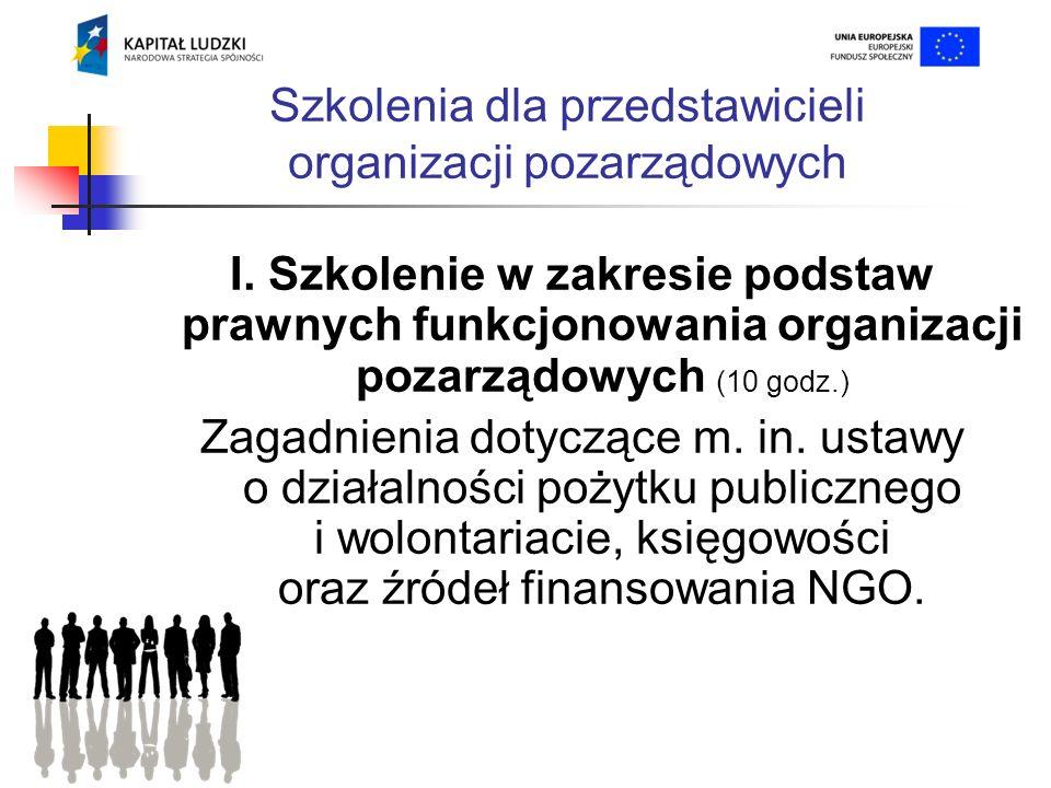 Szkolenia dla przedstawicieli organizacji pozarządowych I.