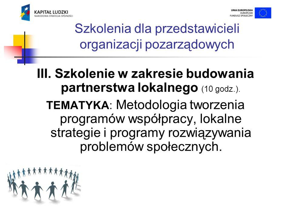 Szkolenia dla przedstawicieli organizacji pozarządowych III.