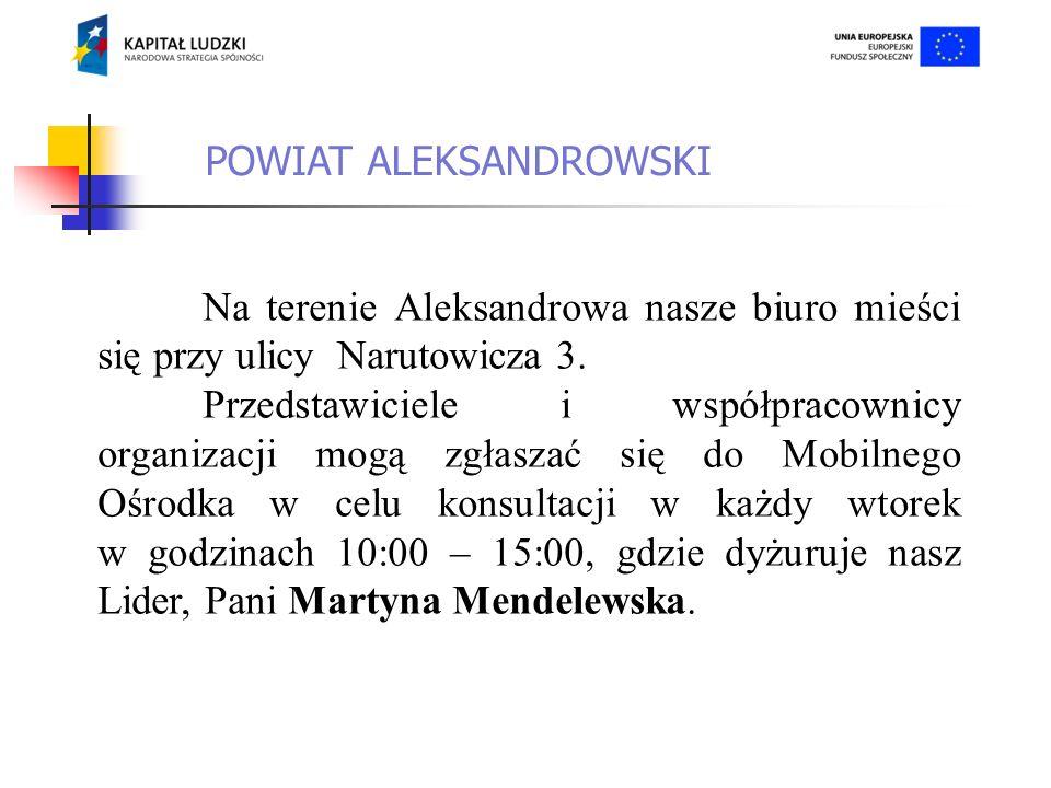 Na terenie powiatu aleksandrowskiego do udziału w projekcie zgłosiło się 25 osób z 14 różnych organizacji.