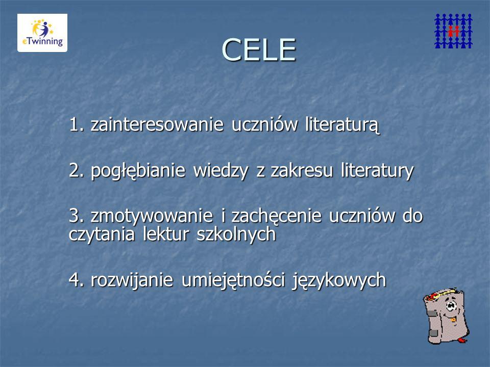 1. zainteresowanie uczniów literaturą 2. pogłębianie wiedzy z zakresu literatury 3. zmotywowanie i zachęcenie uczniów do czytania lektur szkolnych 4.