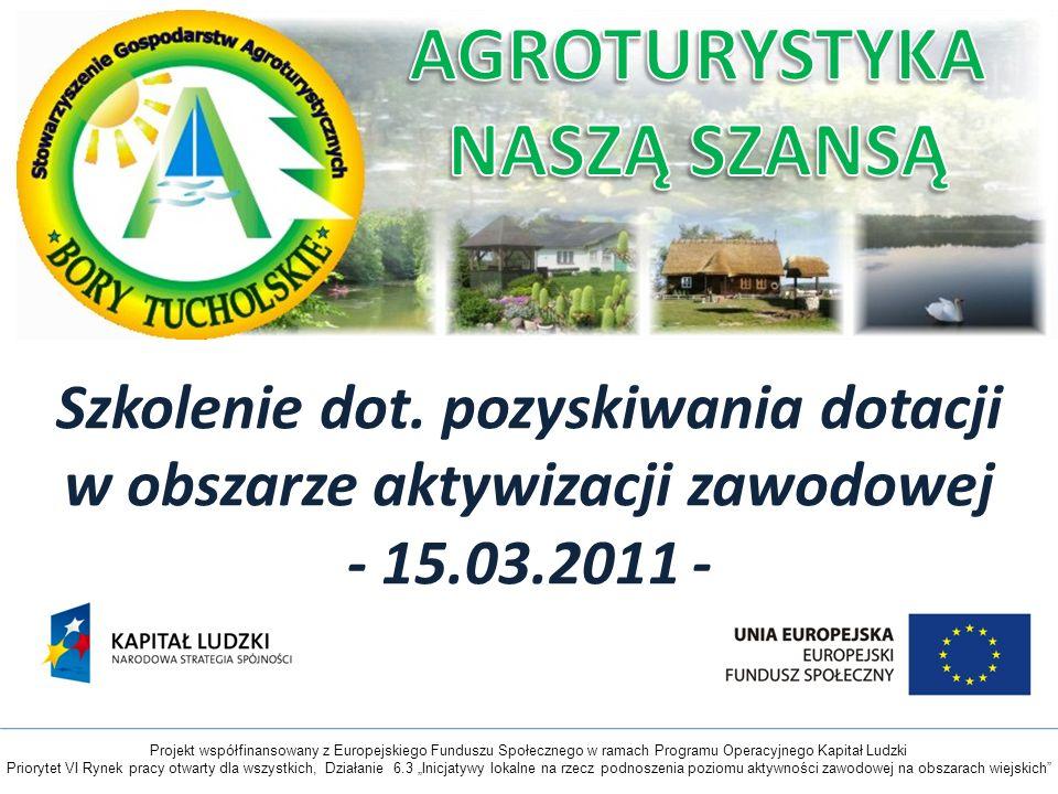 Szkolenie dot. pozyskiwania dotacji w obszarze aktywizacji zawodowej - 15.03.2011 - Projekt współfinansowany z Europejskiego Funduszu Społecznego w ra