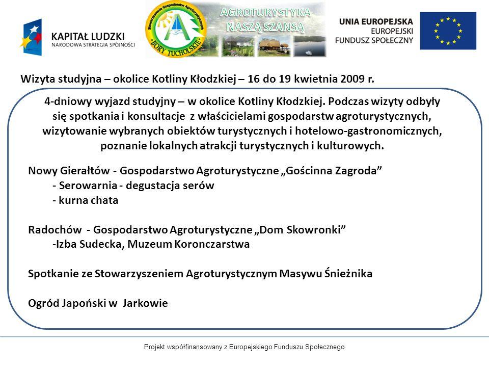 Projekt współfinansowany z Europejskiego Funduszu Społecznego Wizyta studyjna – okolice Kotliny Kłodzkiej – 16 do 19 kwietnia 2009 r. 4-dniowy wyjazd