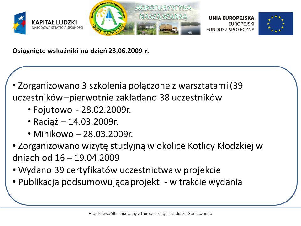 Projekt współfinansowany z Europejskiego Funduszu Społecznego Osiągnięte wskaźniki na dzień 23.06.2009 r. Zorganizowano 3 szkolenia połączone z warszt