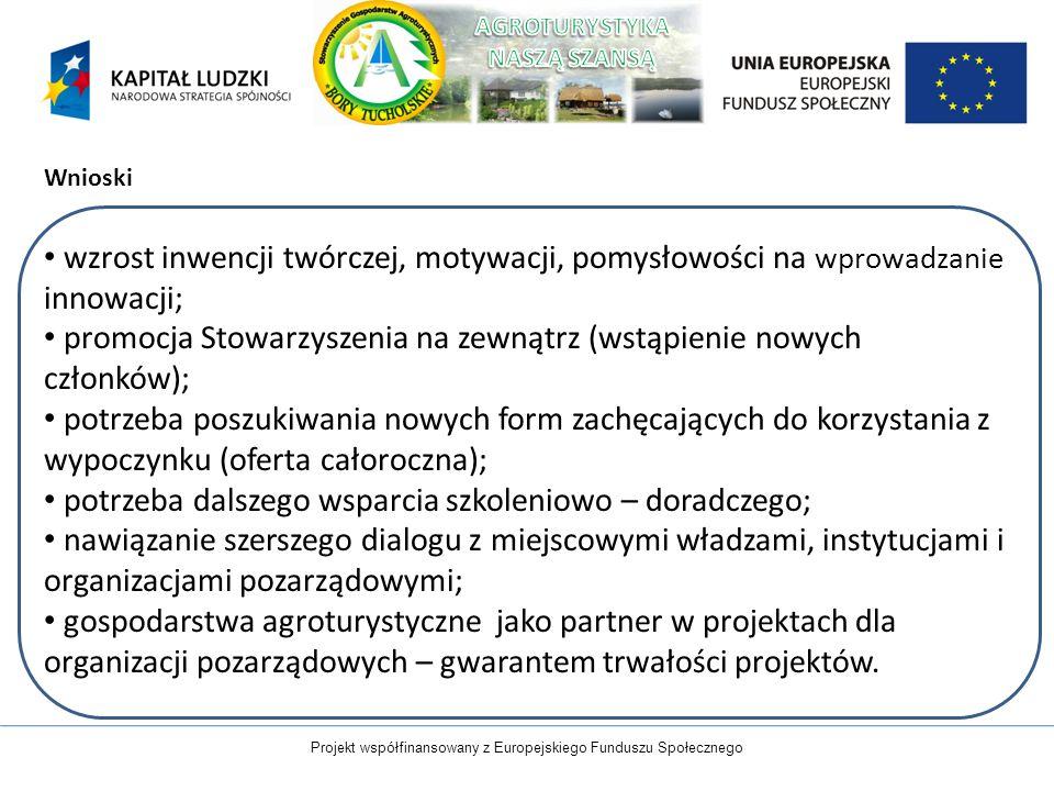 Projekt współfinansowany z Europejskiego Funduszu Społecznego Wnioski wzrost inwencji twórczej, motywacji, pomysłowości na wprowadzanie innowacji; pro
