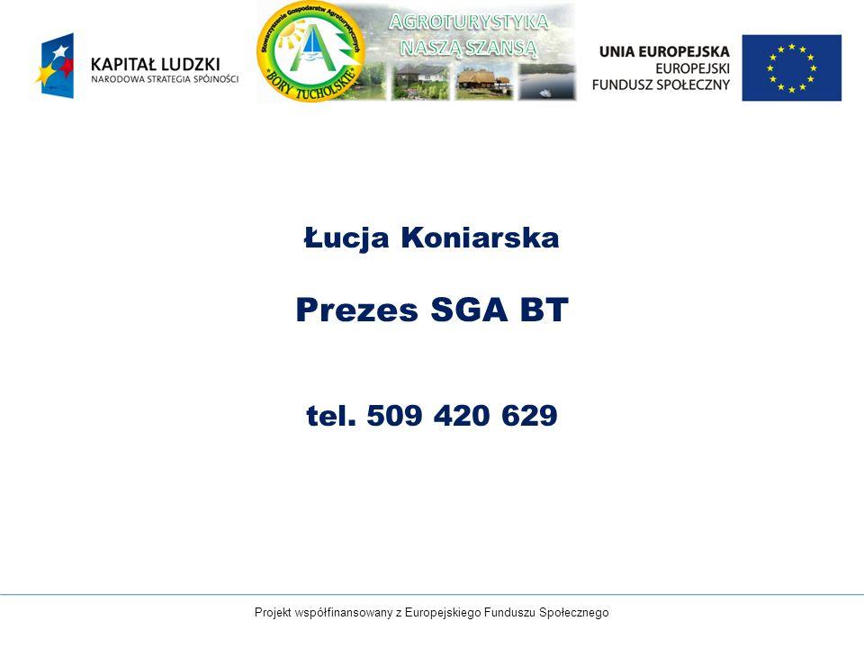 Projekt współfinansowany z Europejskiego Funduszu Społecznego Łucja Koniarska Prezes SGA BT tel. 509 420 629