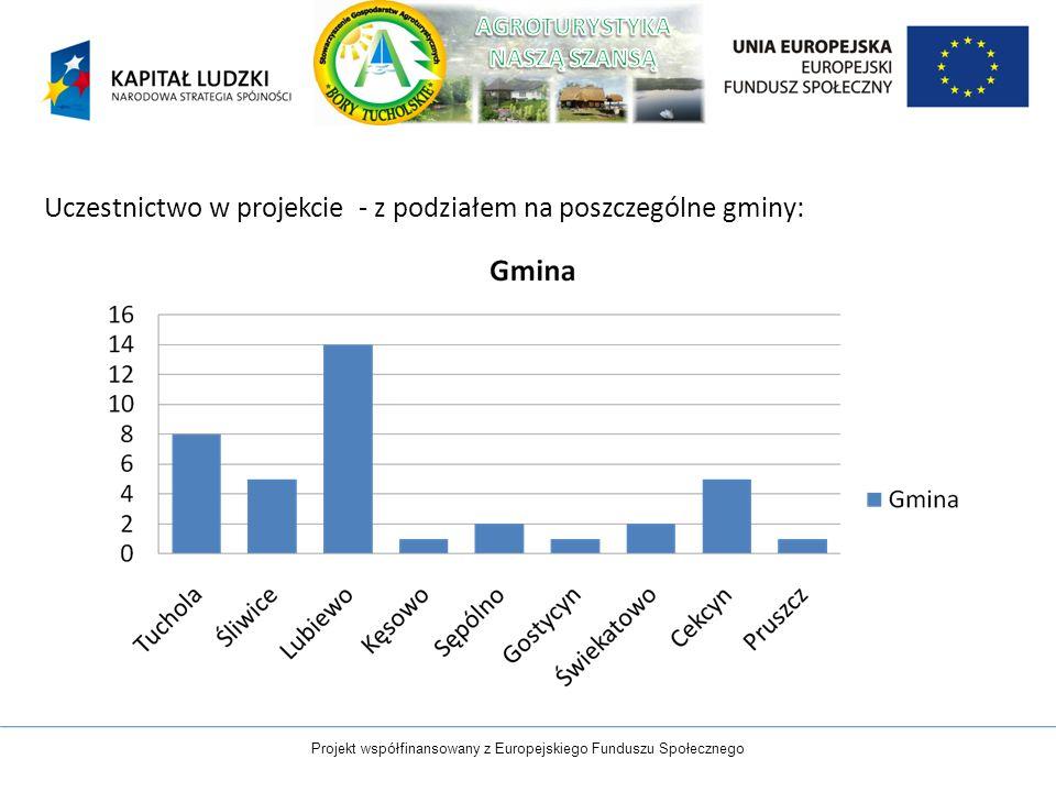 Uczestnictwo w projekcie - z podziałem na poszczególne gminy: Projekt współfinansowany z Europejskiego Funduszu Społecznego