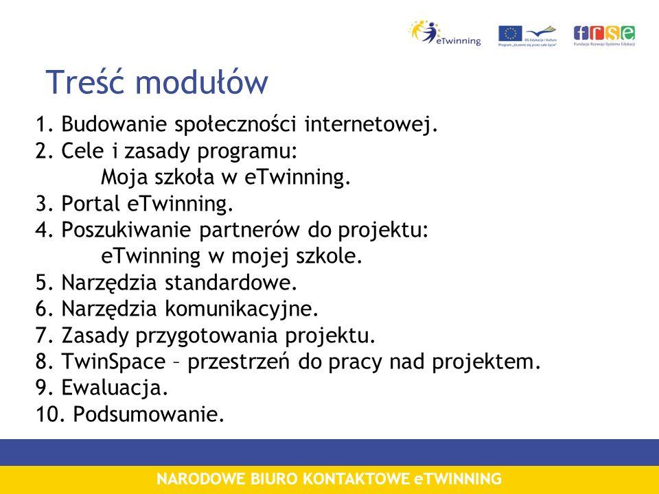 NARODOWE BIURO KONTAKTOWE eTWINNING Treść modułów 1. Budowanie społeczności internetowej. 2. Cele i zasady programu: Moja szkoła w eTwinning. 3. Porta