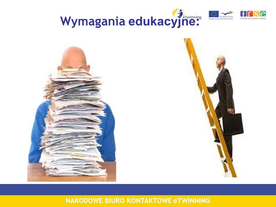 NARODOWE BIURO KONTAKTOWE eTWINNING Wymagania edukacyjne :
