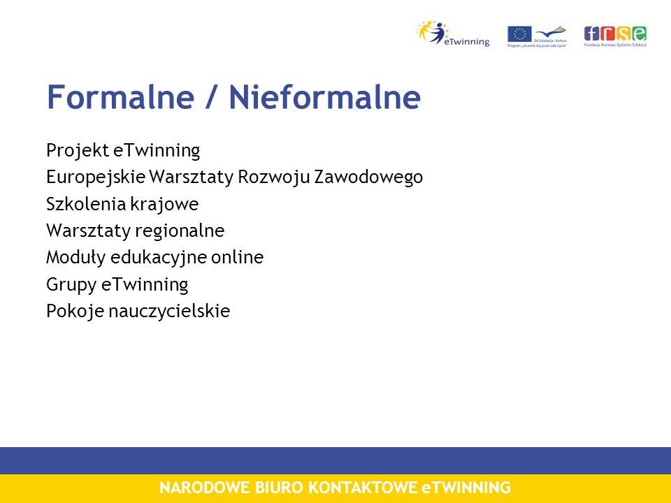 NARODOWE BIURO KONTAKTOWE eTWINNING Formalne / Nieformalne Projekt eTwinning Europejskie Warsztaty Rozwoju Zawodowego Szkolenia krajowe Warsztaty regi