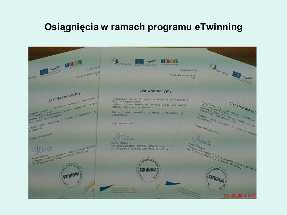 Osiągnięcia w ramach programu eTwinning