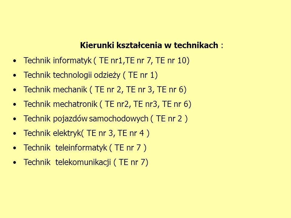Kierunki kształcenia w technikach : Technik informatyk ( TE nr1,TE nr 7, TE nr 10) Technik technologii odzieży ( TE nr 1) Technik mechanik ( TE nr 2, TE nr 3, TE nr 6) Technik mechatronik ( TE nr2, TE nr3, TE nr 6) Technik pojazdów samochodowych ( TE nr 2 ) Technik elektryk( TE nr 3, TE nr 4 ) Technik teleinformatyk ( TE nr 7 ) Technik telekomunikacji ( TE nr 7)
