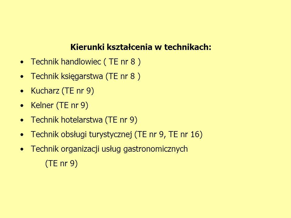 Kierunki kształcenia w technikach: Technik handlowiec ( TE nr 8 ) Technik księgarstwa (TE nr 8 ) Kucharz (TE nr 9) Kelner (TE nr 9) Technik hotelarstwa (TE nr 9) Technik obsługi turystycznej (TE nr 9, TE nr 16) Technik organizacji usług gastronomicznych (TE nr 9)