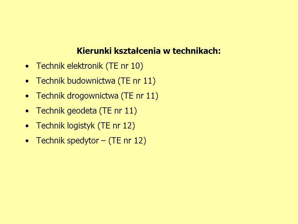Kierunki kształcenia w technikach: Technik elektronik (TE nr 10) Technik budownictwa (TE nr 11) Technik drogownictwa (TE nr 11) Technik geodeta (TE nr 11) Technik logistyk (TE nr 12) Technik spedytor – (TE nr 12)