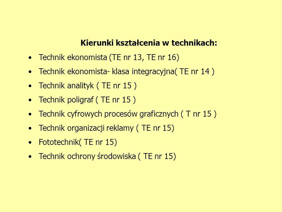 Kierunki kształcenia w technikach: Technik ekonomista (TE nr 13, TE nr 16) Technik ekonomista- klasa integracyjna( TE nr 14 ) Technik analityk ( TE nr 15 ) Technik poligraf ( TE nr 15 ) Technik cyfrowych procesów graficznych ( T nr 15 ) Technik organizacji reklamy ( TE nr 15) Fototechnik( TE nr 15) Technik ochrony środowiska ( TE nr 15)