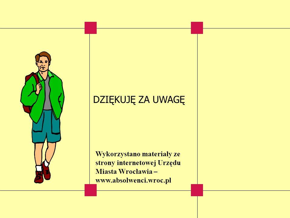 DZIĘKUJĘ ZA UWAGĘ Wykorzystano materiały ze strony internetowej Urzędu Miasta Wrocławia – www.absolwenci.wroc.pl