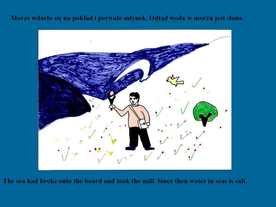 Nagle z worka wyleciał ptak, chłopak usiadł na jego grzbiecie i pofrunęli nad morze gdzie zobaczyli statek kupca.