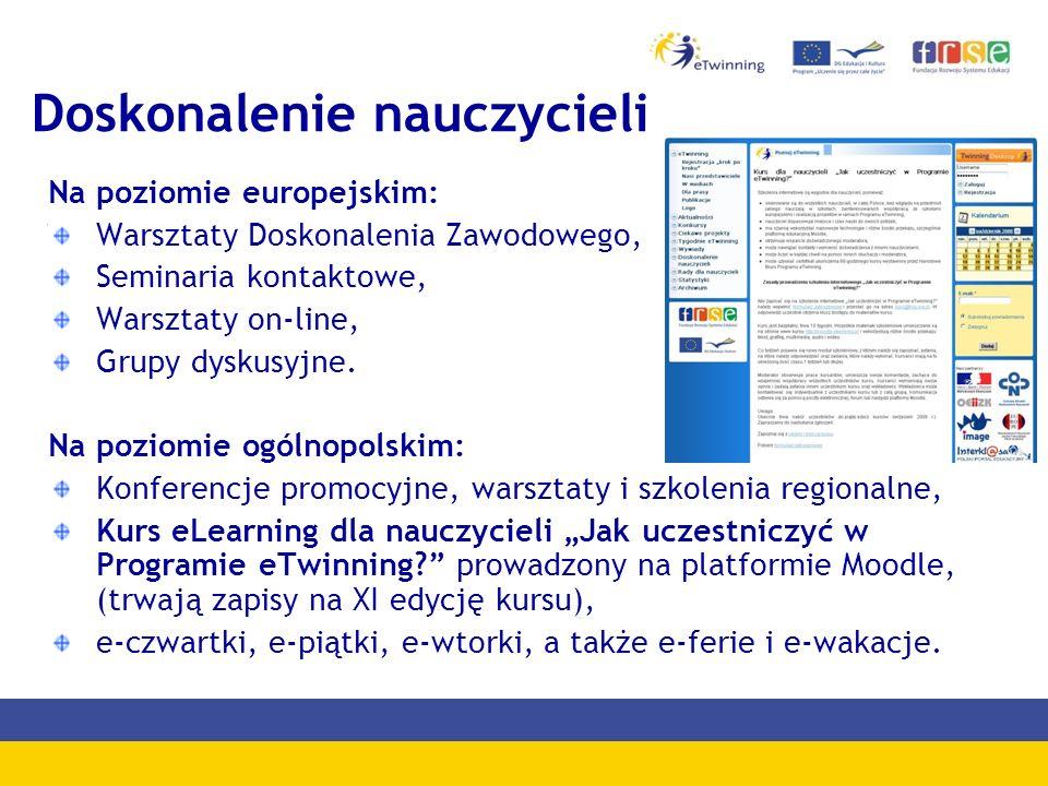 Doskonalenie nauczycieli Na poziomie europejskim: Warsztaty Doskonalenia Zawodowego, Seminaria kontaktowe, Warsztaty on-line, Grupy dyskusyjne.