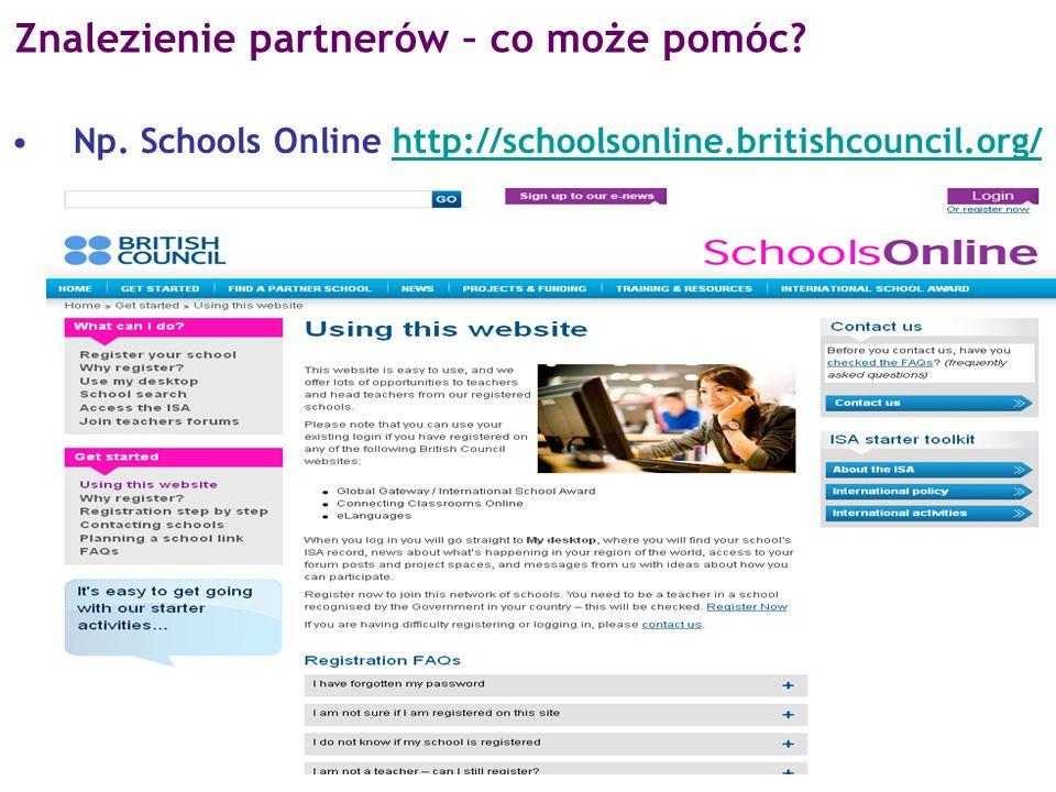 Np. Schools Online http://schoolsonline.britishcouncil.org/http://schoolsonline.britishcouncil.org/ Znalezienie partnerów – co może pomóc?