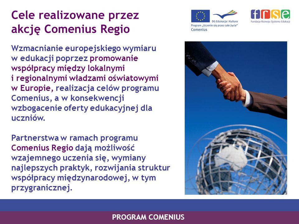 Cele realizowane przez akcję Comenius Regio Wzmacnianie europejskiego wymiaru w edukacji poprzez promowanie współpracy między lokalnymi i regionalnymi władzami oświatowymi w Europie, realizacja celów programu Comenius, a w konsekwencji wzbogacenie oferty edukacyjnej dla uczniów.