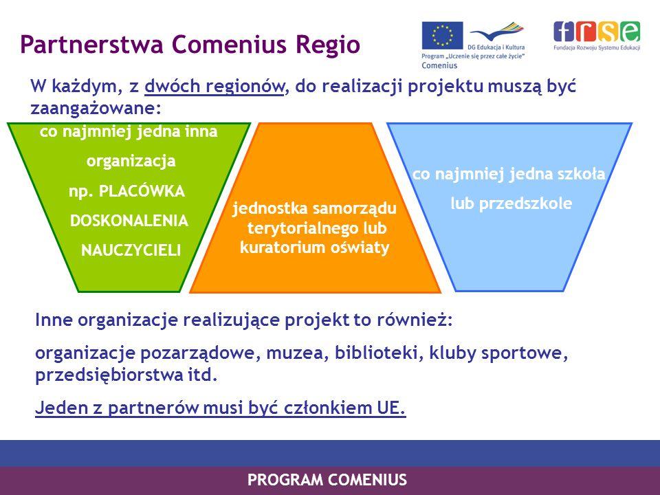 Partnerstwa Comenius Regio W każdym, z dwóch regionów, do realizacji projektu muszą być zaangażowane: PROGRAM COMENIUS co najmniej jedna inna organizacja np.